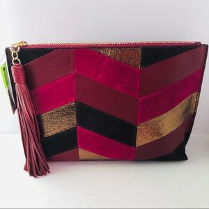 Sam Edelman Walker Fuchsia Multi Tasseled Clutch